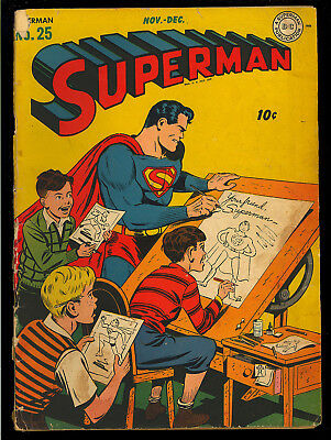 Superman #25 Nice Original Owner Unrestored Golden Age DC Comic 1943 GD+