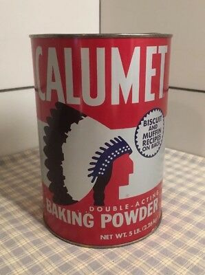 Vintage Calumet Baking Powder Lg. 5lb. Advertising Tin w Lid & Indian Logo 7-1/2