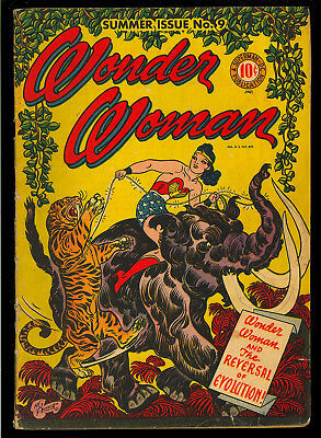 Wonder Woman #9 Nice Original Owner 1st App. Giganta DC Comic 1944 VG