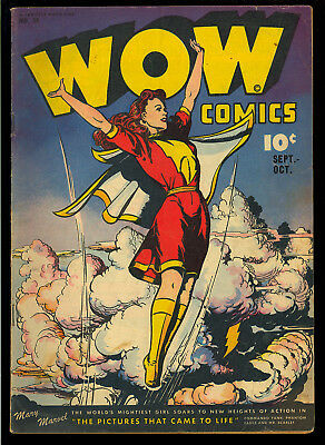 Wow Comics #38 Nice Mary Marvel Cover Golden Age Fawcett Comic 1945 VG