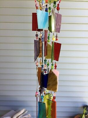 Wind Chime Sun Catcher Stained Glass Wine Bottle Beautiful Rustic Garden Art
