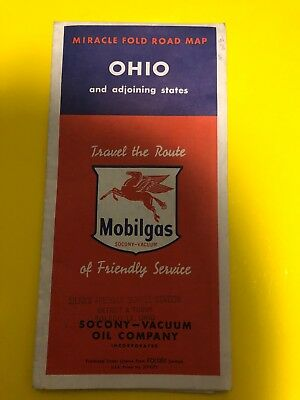 Vintage Mobile Gas Station Ohio Map