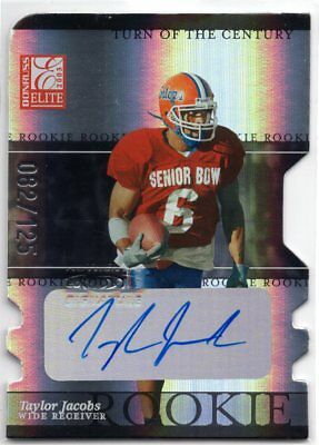 Taylor Jacobs 2003 Elite Turn of the Century DIE-CUT ROOKIE AUTOGRAPH RC #82/125
