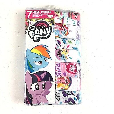 7 Pack My Little Pony Girls Size 4 4T Panties 100% Cotton Multi Color NIP