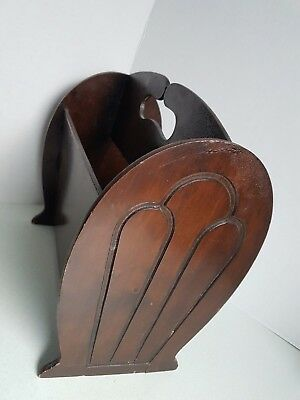 Vintage Wooden Small Magazine Rack Container 13 Inches Tall Dark Stained