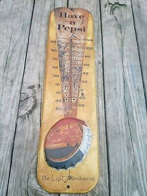 Vintage Original Pepsi THERMOMETER SIGN Embossed Soda Gas Country  Store Wow