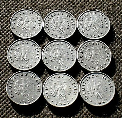 Old Coins Third Reich Germany 10 Rp Berlin Swastika World War Ii - Mix 1564