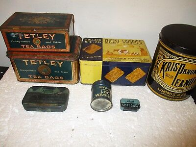 (7) Piece Vintage Tin Collection- Tetley Tea etc.