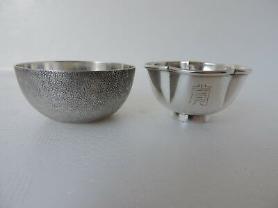 2 EXQUISITE 1960's JAPANESE SOLID STERLING SILVER SAKE TEA CUPS 27 GRAMS JAPAN