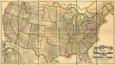 1876 Railroad Map US and Canada Wall Poster Vintage History Home Office School