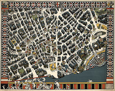 1915 Pictorial Map London Theater District Vintage History Wall Art Decor Poster