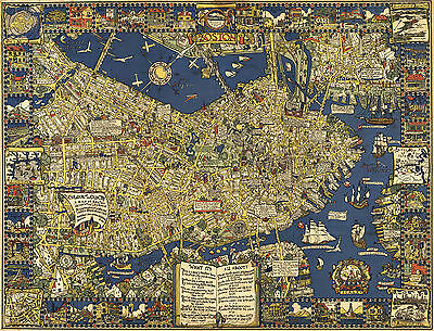 1926 Pictorial Boston Map Vintage Genealogy Family History Wall Art Poster Decor