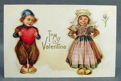 Antique Postcard Valentines Day To My Boy Holding Heart For Girl Dutch Nation
