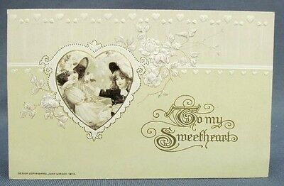 Antique Postcard 1913 Winsch Valentines Day To My Sweetheart Two Girls in Heart