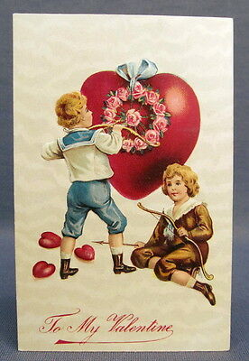 Antique Postcard Valentines Day To My Two Boys Shooting Arrows into Heat w/Roses