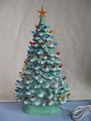 """Vintage Ceramic Lighted Green Flat Christmas Tree With Base 15"""" Tall, Table Top"""
