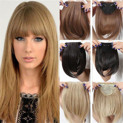 Real Natural Straight Hair Extensions Clip In Front Hair Bangs Fringe for Human