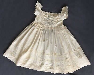 Vintage Antique Doll Baby Christening Cotton Dress Late 1800s -1900s