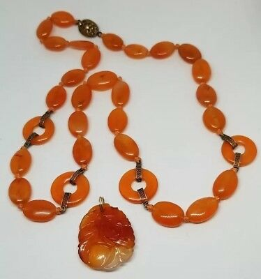 "ESTATE CARNELIAN NECKLACE W/ 1.75"" x 1"" CARVED PENDANT WITH SILVER LATCH"