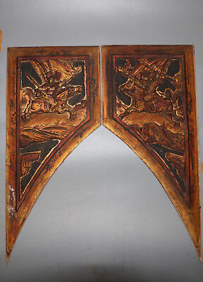 Chinese Qing Dy old wooden General rid horse figure furniture door decoration