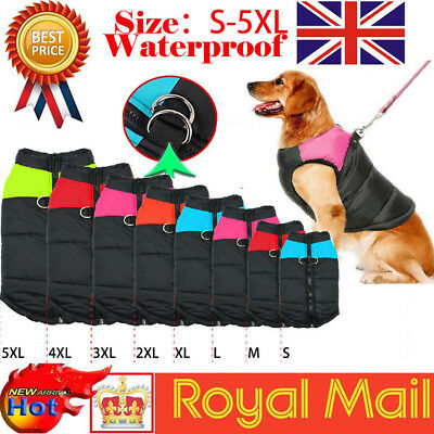Waterproof Pet Dog Clothes Autumn Winter Warm Padded Coat Vest Jackets Apparel