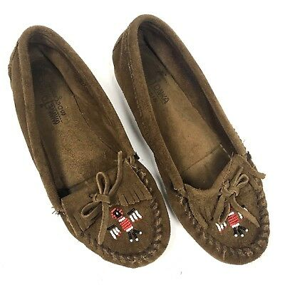 Minnetonka Moccasin Brown Women's Size 9 Beads Tassels Bow Slip On Leather Suede