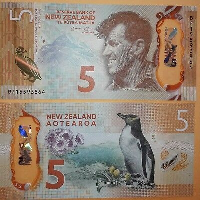 2015 ~ NEW ZEALAND UNC  $5  ~ Latest issue & BANKNOTE OF THE YEAR 2015!!