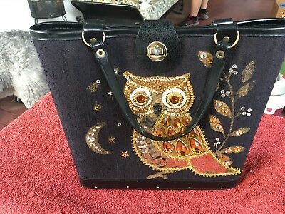 """Enid Collins Style Vintage 60's Women's BLACK with Gold """"Jeweled"""" Accents~OWL"""