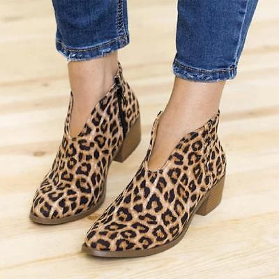 Women's Ankle Boots Ladies Leopard Autumn Winter Outside Low Heel Zipper Shoes