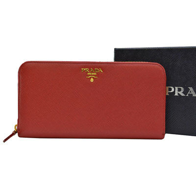 27eaa707ad491f Auth PRADA SAFFIANO METAL Zip Around Long Wallet Red Leather/Goldtone -  r6671