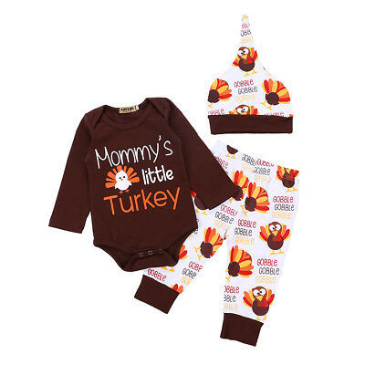 Newborn Baby Girl Boy Thanksgiving Romper Tops Jumpsuit Pant Hat Outfits Clothes