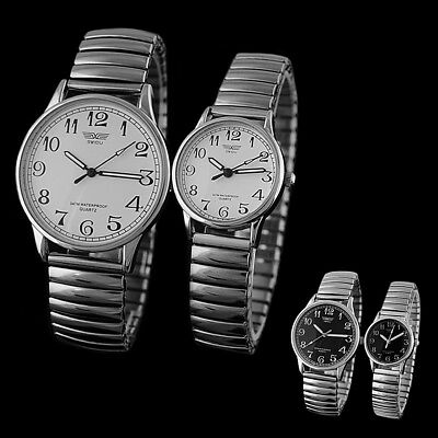 Fashion Women Men Watch Couple Design Alloy Silver Band Stretchable Wristwatches