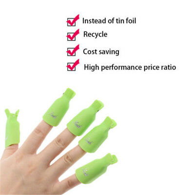 10PC Plastic Nail Art Soak Off Cap Clip UV Gel Polish Remover Wrap Tool New Sale