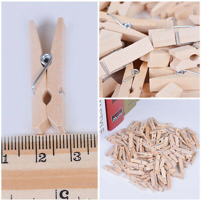 50/100/150 Pcs Mini Pegs Natural Wooden Craft Cloth Photo Wood Hanging Clips AU