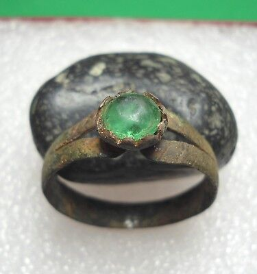 Ancient Roman Bronze Ring with green Stone Original Authentic Antique Rare R505
