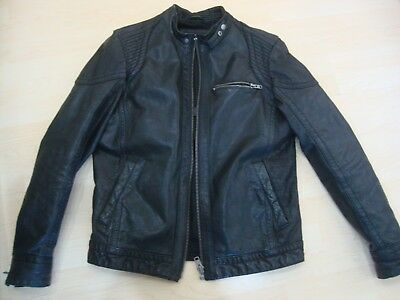 e06f8a5f2 MEN'S RIVER ISLAND Leather Jacket Black Real Leather Zip Coat Winter ...