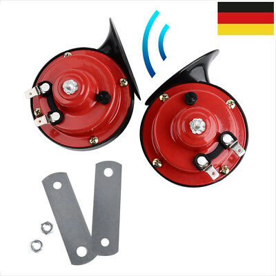 1 Paar Universal Klang Fanfare Schnecke Horn Hupe 12V für Auto PKW Rot 120dB