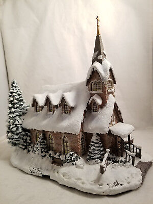 """CERTIFIED Thomas Kinkade's Village Christmas collection """"Light of Hope Church"""""""