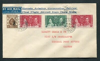 29.06.1937 First E.A.C. Flight cover Hong Kong (Rate 35c) to Hankow, China