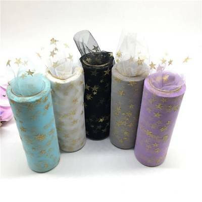 DIY Gold Star Glitter Tulle Mesh Roll Spool Tutu Soft Squines Tulle Party Decor