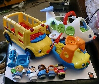 12-pc Little People TALKING AIRPLANE Fishing BOAT School BUS Fisher Price LOT