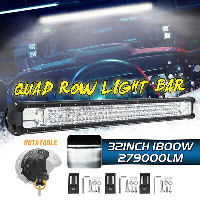 32 Inch Quad-Row LED Work Light Spot Flood Driving Fog Lamp Truck Boat Offroad !