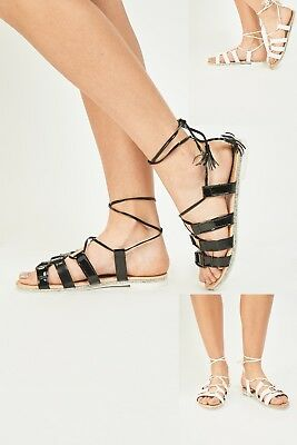 117308f4efc586 Womens Lace Tie Up Ankle Gladiator Patent Leather Sandals Flat Summer Shoes