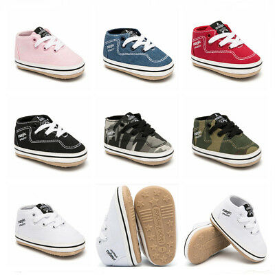GIFT Rubber Soles First Step PreWalker Trainers Newborn Baby Boy Girl Crib Shoes