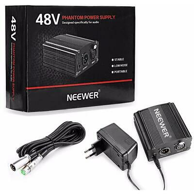Neewer 1-Channel 48V Phantom Power Supply Black with Adapter and XLR Audio Cable