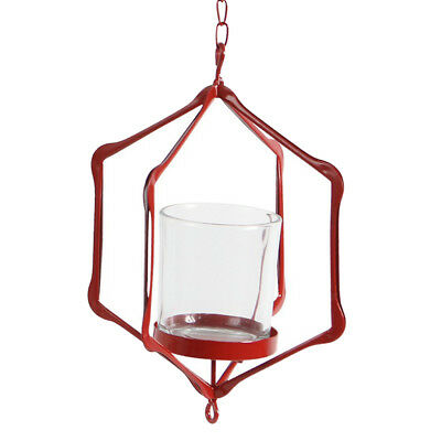 Iron Ceiling Chandelier 3D Geometric Candle Holder Hanging Candlestick D-Red