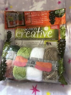 New Knit Your Own Colourful Cacti Kit