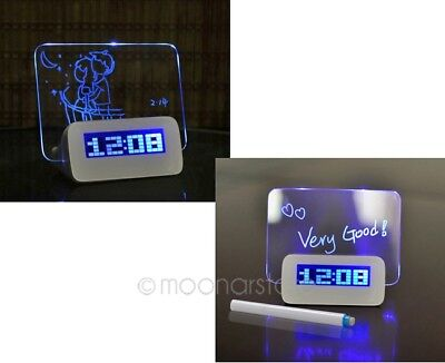 LED Scribble Alarm Clock Morning Memo Message Board With Pen Office Gadget Gift