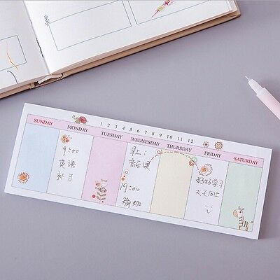 Weekly/Daily Planner Sticker Sticky Note Memo Pad Schedul Check List To Do Li Vv