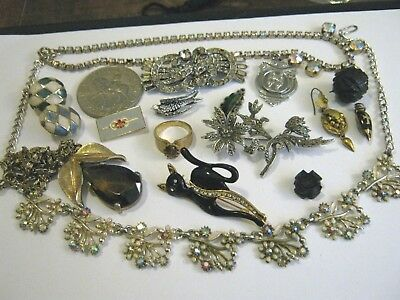 NICE JOB LOT ANTIQUE & VINTAGE SPARE & REPAIR JEWELLERY - Georgian earring, jet